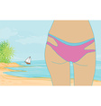 Woman in bikini at a beach watching the sea vector image vector image