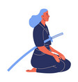 woman in hakama sitting on knees with kendo sword vector image