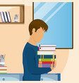 young man studying at home vector image vector image