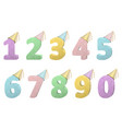 set of volume numbers with party hats vector image