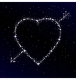 Starry heart pierced with arrow vector image