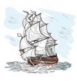 wind-driven ship vector image