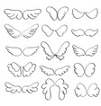 set of angel wings on a white background vector image