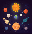 set of colorful bright planets solar system vector image