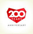 200 anniversary heart logo vector image