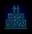 2d mesh marriage cake with light spots for vector image