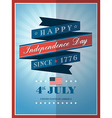 4th july independence day ribbon background vector image