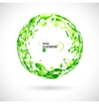 Abstract round frame of green watercolor spots