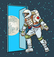 astronaut step on moon vector image vector image
