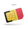 Belgium mobile phone sim card with flag vector image vector image