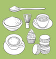 big set of matcha green tea food and accessories vector image vector image