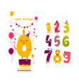 birthday greeting card design with cute numbers vector image vector image