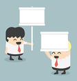 businessman holding a white sign vector image vector image