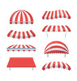canopy striped set fashionable red white awnings vector image