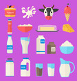 Cartoon color milk products icons set vector image