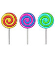 colored swirl lollipops set sugar candy hand vector image vector image