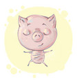 cute little pig character in yoga pose meditating vector image vector image