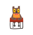 cute owl bird cartoon character sitting at the vector image vector image
