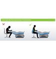 dental ergonomics wrong and correct sitting pose vector image