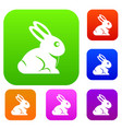easter bunny set color collection vector image vector image