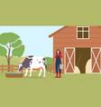 farmer working on countryside farm vector image