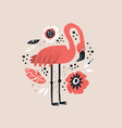 flamingo hand drawn vector image vector image