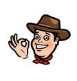 Funny cowboy or happy farmer in hat cartoon