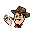 funny cowboy or happy farmer in the hat cartoon vector image
