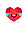 funny laughing heart emoticon emotional icon vector image