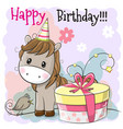 greeting card cute horse with gift vector image