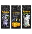Halloween Party chalk sketch design on blackboard vector image vector image