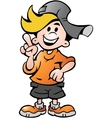 hand-drawn an happy school boy pointing vector image vector image