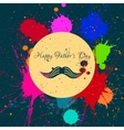 Happy fathers day and mustache ink blots vector image vector image