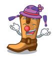 juggling leather cowboy boots shape cartoon funny vector image vector image