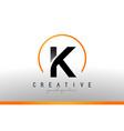 k letter logo design with black orange color cool vector image vector image