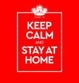 keep calm and stay at home virus novel vector image