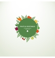 Label with fresh fruits and vegetables vector image vector image
