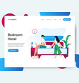 landing page template hotel bedroom concept vector image