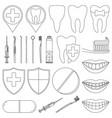 line art black and white dental 23 elements set vector image