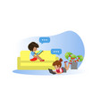 little girls using gadgets kids playing games vector image vector image
