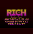 modern neon style font alphabet letters vector image vector image