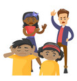 multiracial parents scolding their mulatto kids vector image vector image
