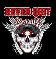 never quit battleskull and knife knuckle vector image