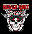 never quit battleskull and knife knuckle with vector image vector image