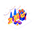 new year celebration isometric colorful vector image
