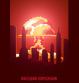 nuclear explosion cartoon retro poster mushroom vector image