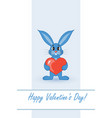 postcard on valentines day with a rabbit vector image vector image