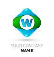 realistic letter w logo in colorful rhombus vector image vector image