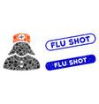 rectangle mosaic nurse with textured flu shot vector image vector image