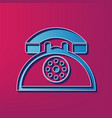 retro telephone sign blue 3d printed icon vector image vector image